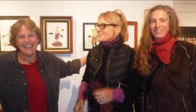 Jennifer Moller, Jane Edgell and Rebecca Arnoldi at Moller's Art Market Provincetown opening Friday night. PHOTO ANN WOOD